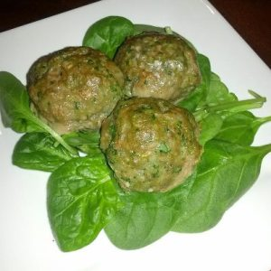 spinach and turkey or beef meatballs