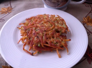 sweet potato and zucchini latkes