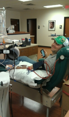 Josh donating double red blood