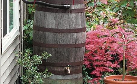decorated rain barrel