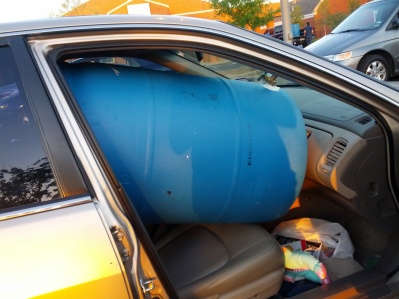 rain barrel in the Honda