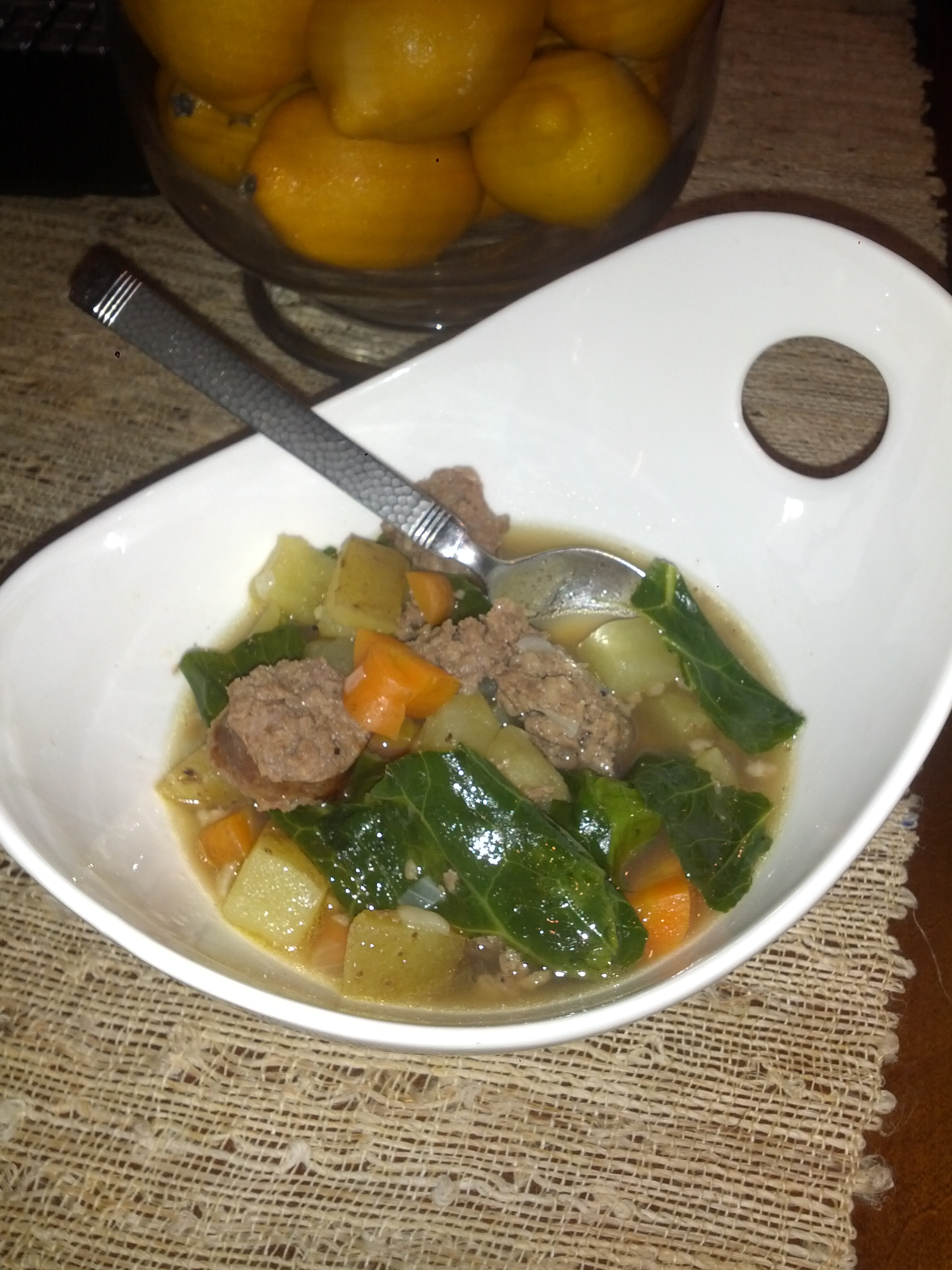 Sausage And (Sweet) Potato Soup With Collard Greens | Crunchy Hot Mama