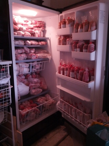 freezer full of cow and pig