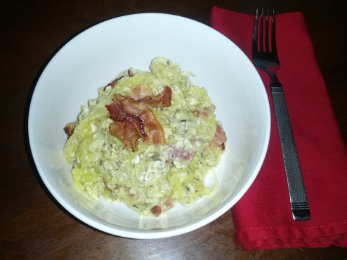 breakfast pasta with eggs and bacon