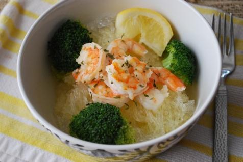 shrimp scampi with green bean noodles