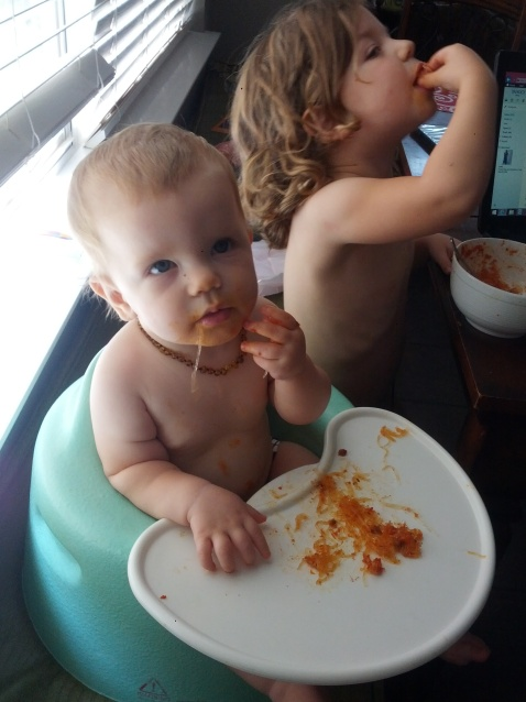 Sophia eating noodles
