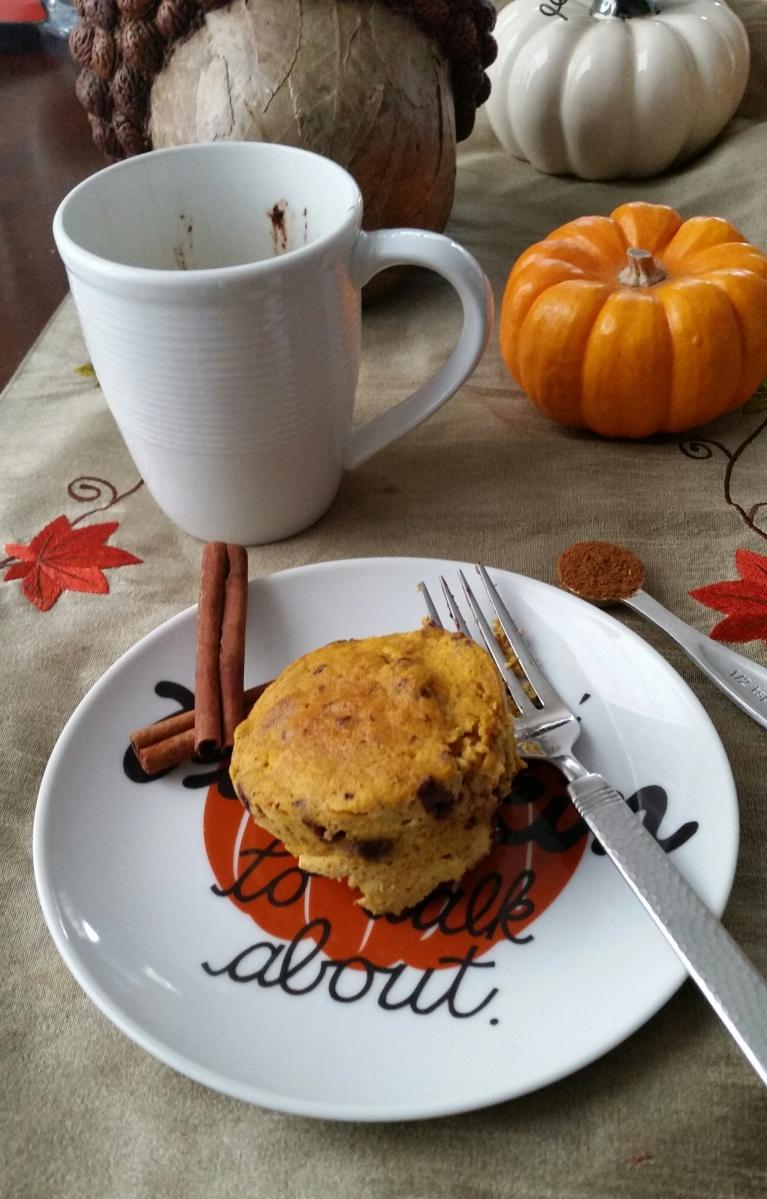 Chocolate Chip Pumpkin Mug Bread {Paleo}